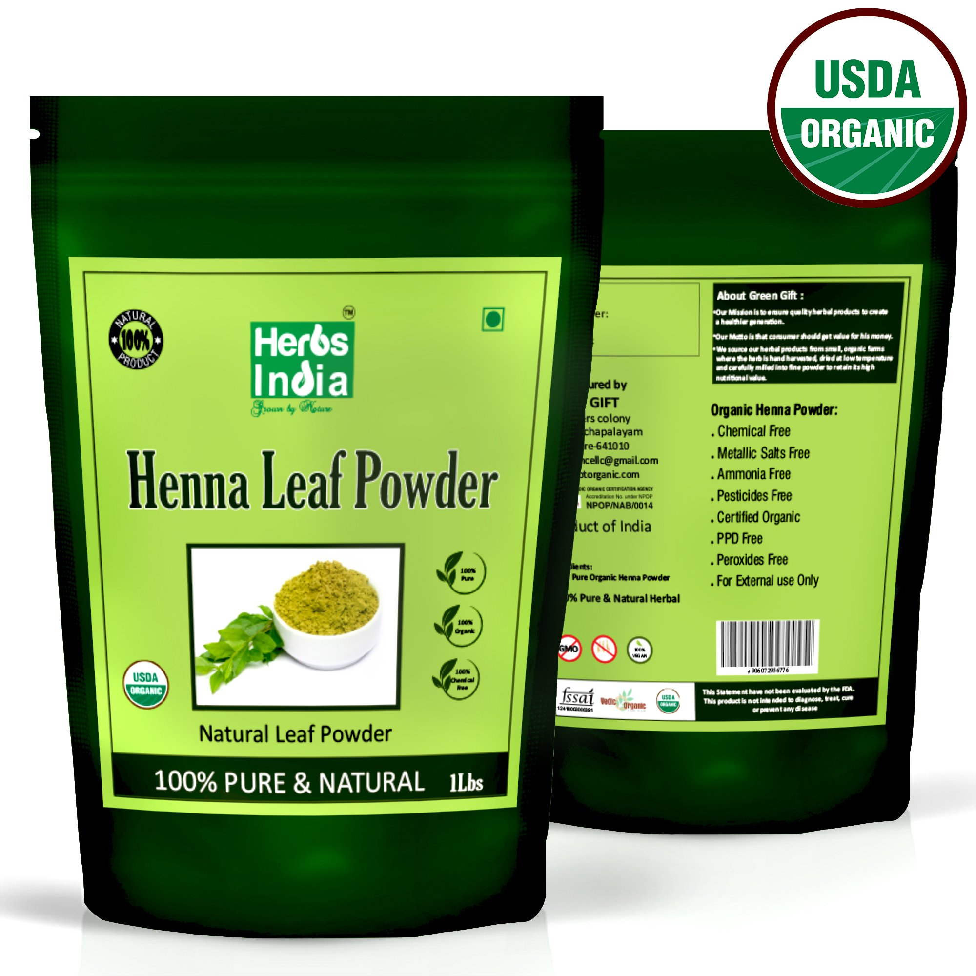 4f281c9f54afe Get Quotations · Organic Henna Powder for Hair 16 Ounces (1 Pound) - USDA  Certified Organic,