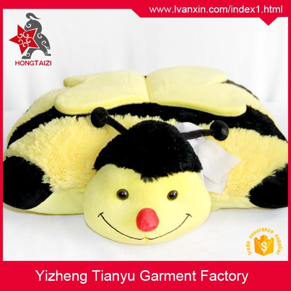 2015 hot sale stuffed pillow cute yellow color children plush pillow