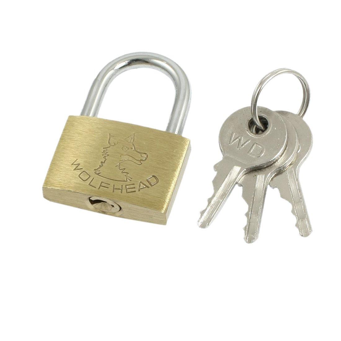 uxcell Cabinet Jewlery Box Packsack Brass 20mm Width Padlock Gold Tone w Keys