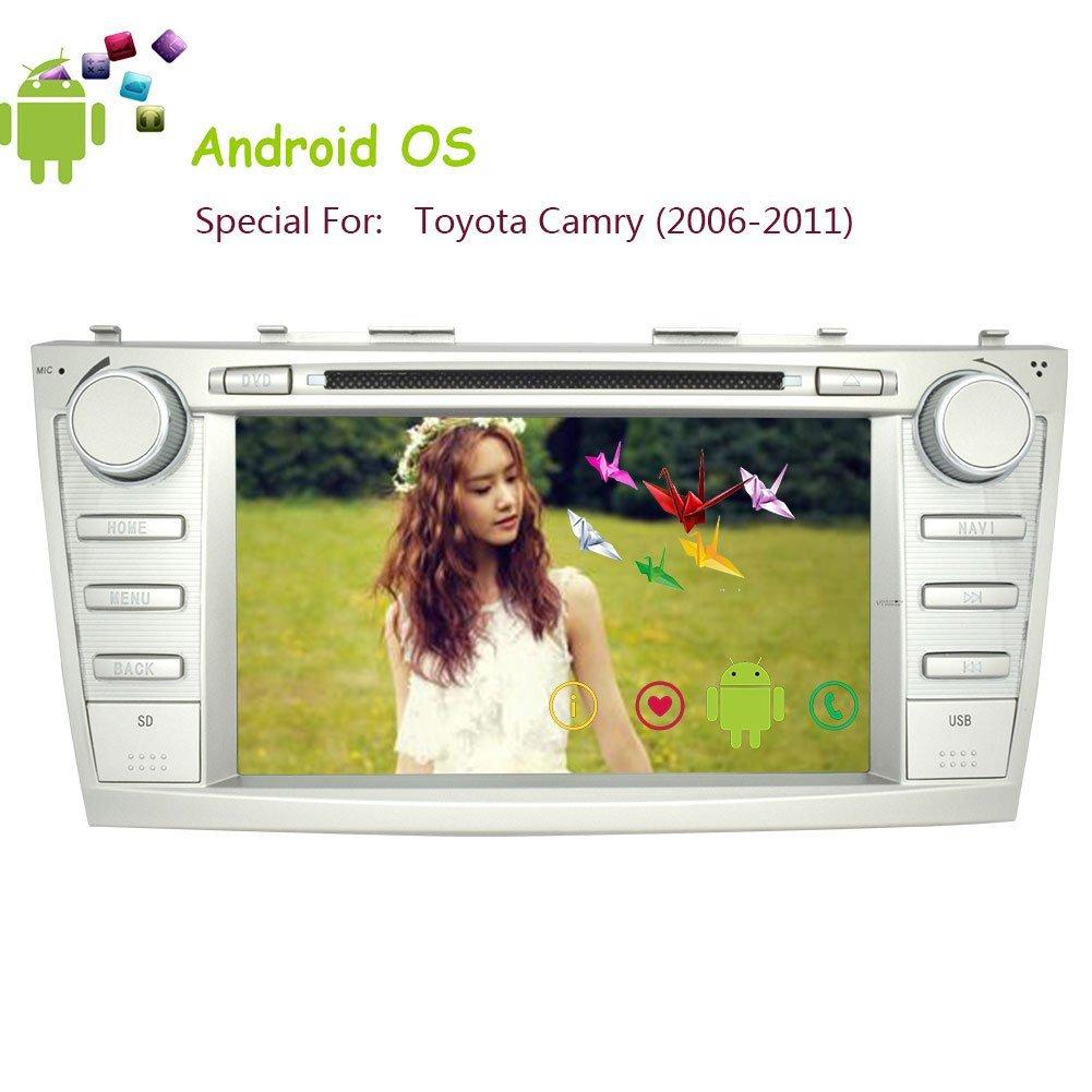 GPS Navi Android 4.4 In Dash 8 Inch Head Unit Video USB Bluetooth Car Stereo For Toyota Camry 2006-2011 Car DVD Player Audio PC System Radio Receiver Autoradio FM AM SD EQ Subwoofer WiFi Internet