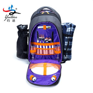 OEM 4 person tableware cutlery waterproof insulated picnic backpack set