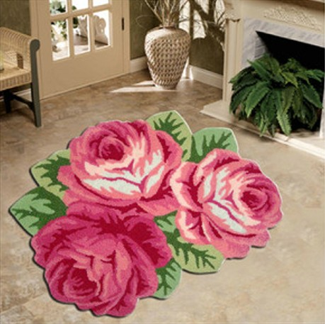 Pink Color Flower Shaped Acrylic Rug