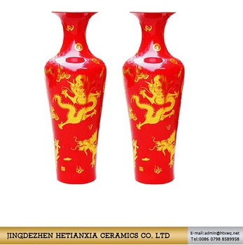 High Taste Lifestyle Red Gold Dragon Chinese Ceramics Floor Vase Made In Jingdezhen Ceramic Product On