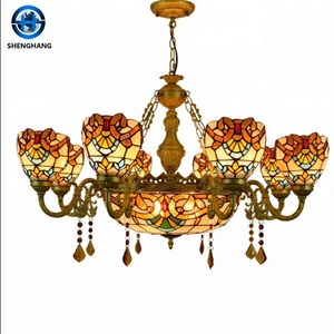 High Quality Antique Tiffany Floor Standing Lamp/Coloured Glass Chandelier for sale