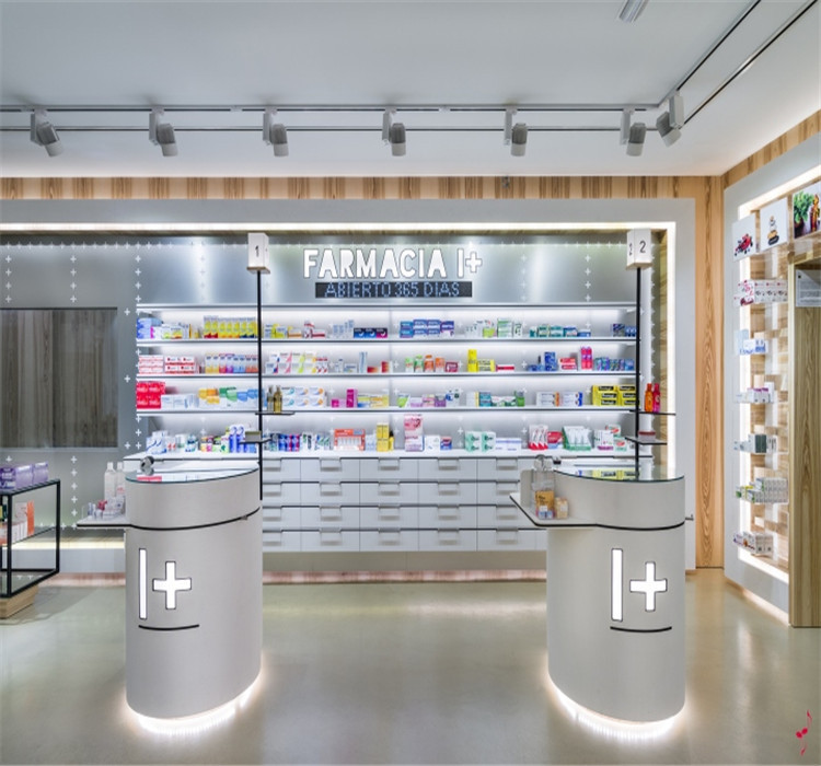 pharmacy shelving drugstore creative store display fixtures