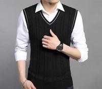 2017 autumn sleeveless argyle sweater vest for men , mens v-neck 7GG knit plain sweater vest