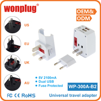 2016 Top Quality Wonplug patented universal 5V 1A international usb travel electrical adapter