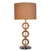 modern standing bedside metal wooden table lamps with fabric shade for hotel home living room