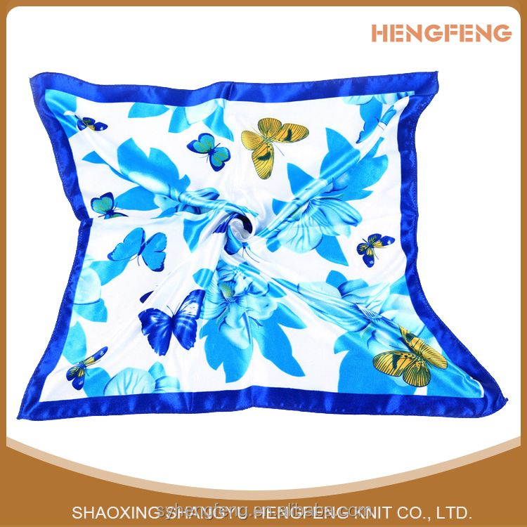 Custom Design High Quality Printing Embroidered Square Chinese Silk Scarf