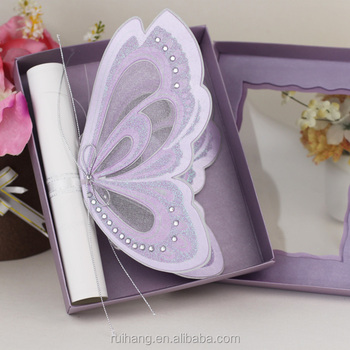 Royal Purple Color Erfly Shaped Wedding Invitations