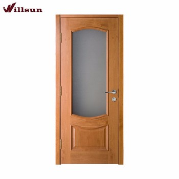 Interior House Wooden Glass Insert Bathroom Door
