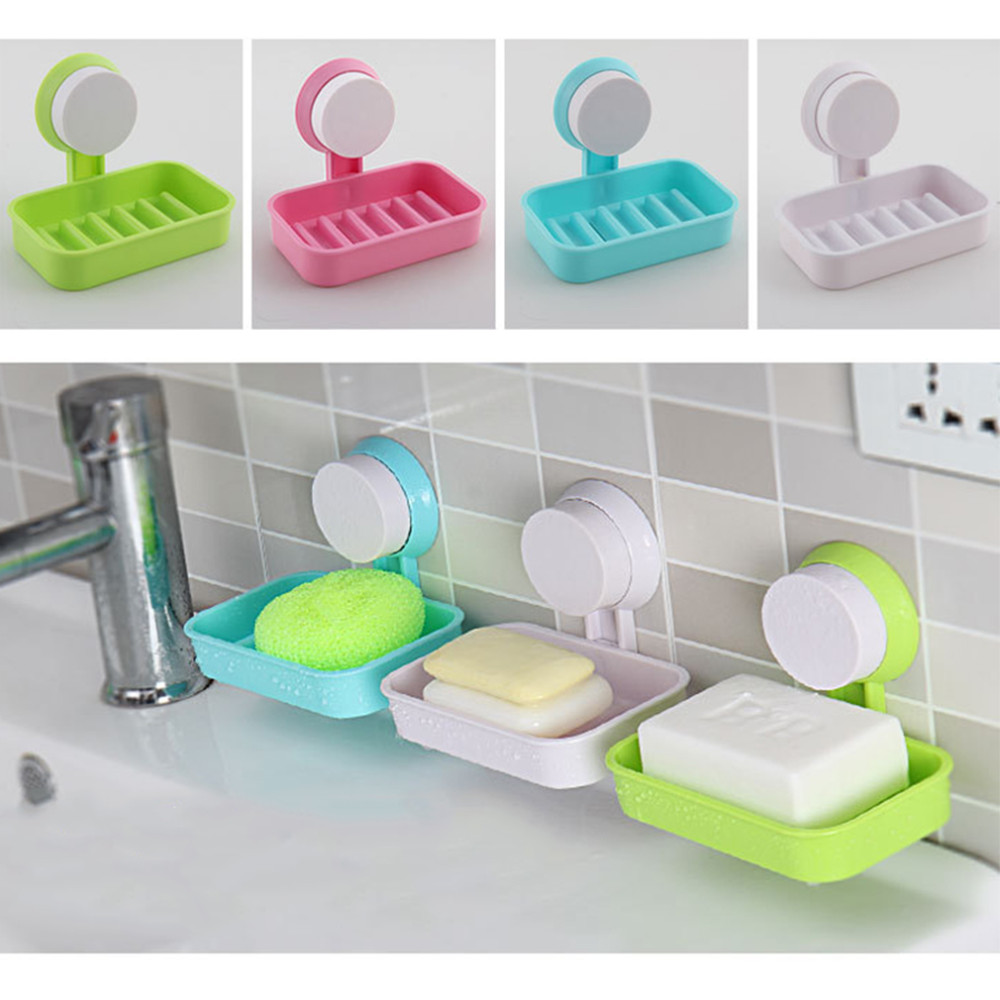 Strong Suction Bathroom Soap Holder Shower Soap Dish Shower Tray Bathroom T