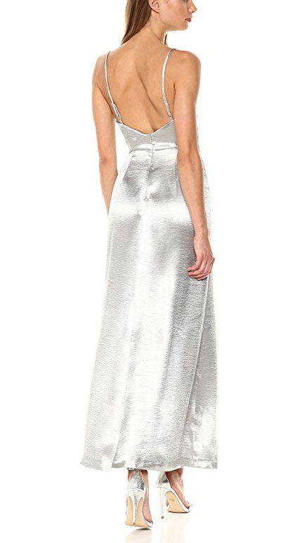 Best Quality Custom Long Evening Dress Satin Silver Evening Dress Sexy