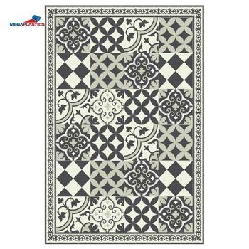 Gray Beige Kitchen Vinyl Mat Carpet