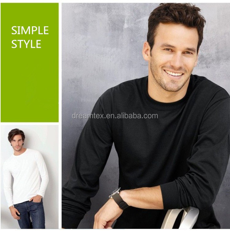 Wholesale blank long sleeve t shirt solid plain custom logo sweatshirt long sleeve t-shirt