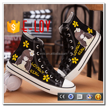 Fashion printed canvas ladies shoes wedge 2017 casual shoe