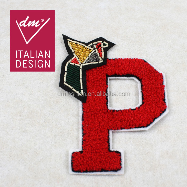 Iron-On Beaded Letter Patch/ Applique Badge On Dress
