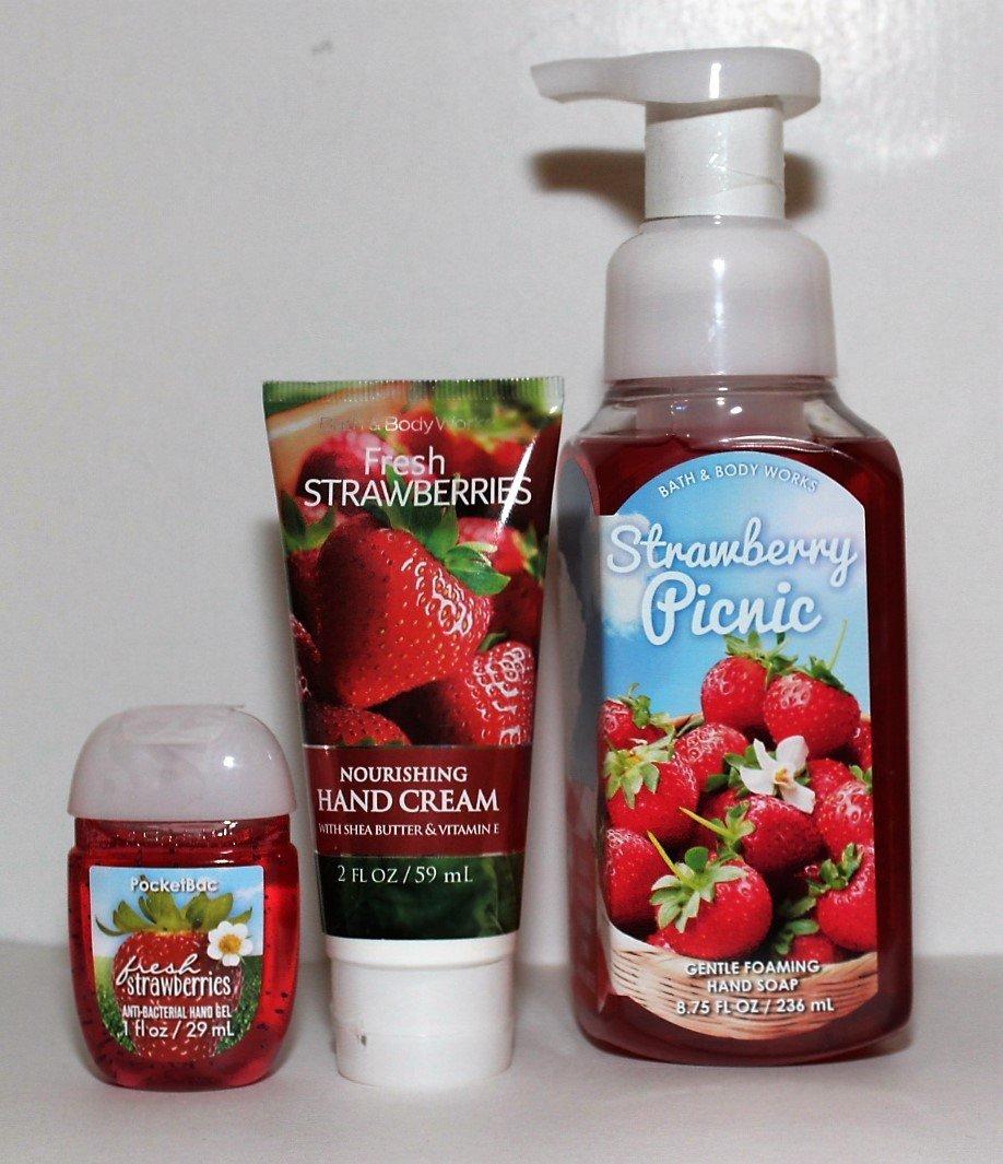 Bath & Body Works - Strawberry Picnic & Fresh Strawberries - Pampered Hand Gift Kit