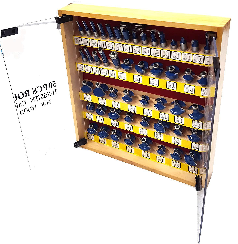 """50-Piece Woodworking 1/2"""" Shank Tungsten Carbide Router Bits Set"""