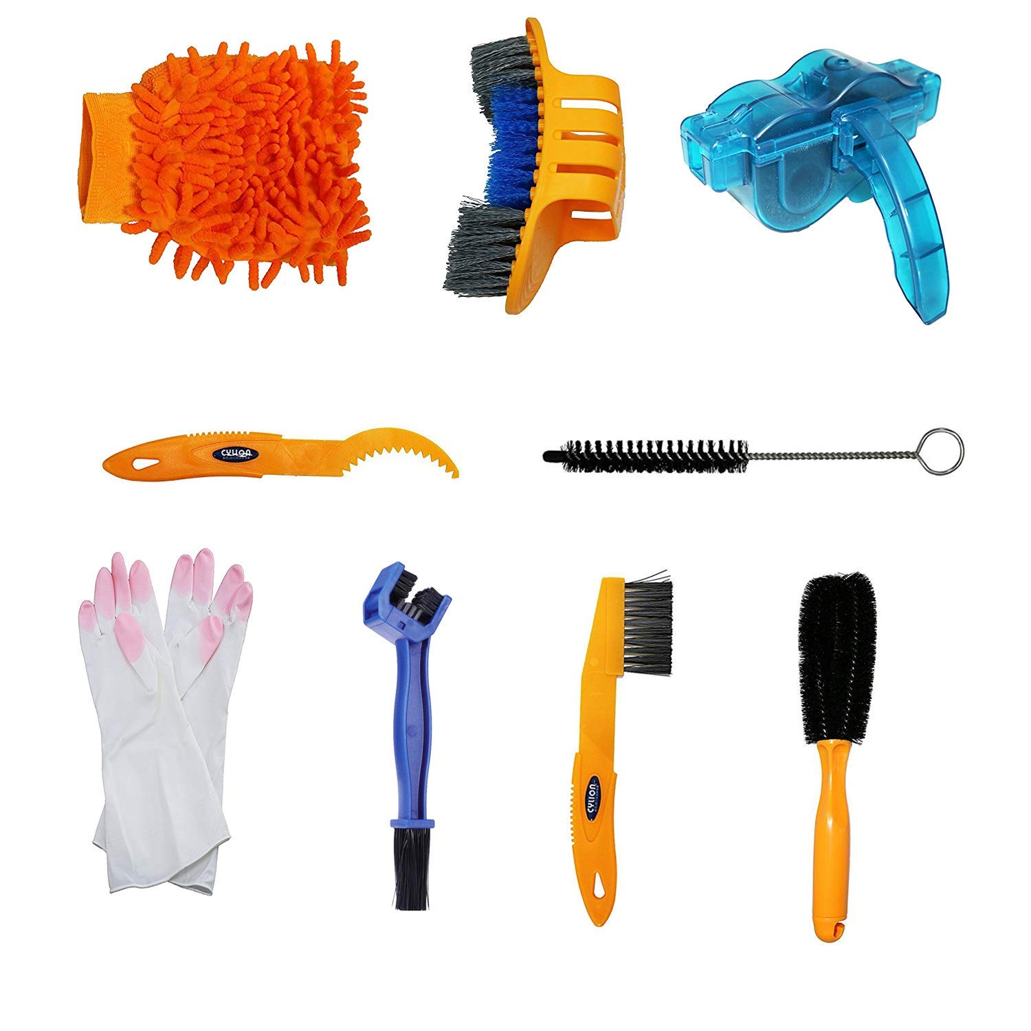 Rodway Bicycle Cleaning Tool Kits Bike Chain Cleaner Tool Wheel Cleaner Brush Compact Multipurpose Practical for Mountain, Road, City, Hybrid,BMX Bike and Folding Bike