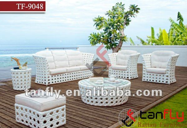 Luxury white wicker garden sofas rattan patio furniture