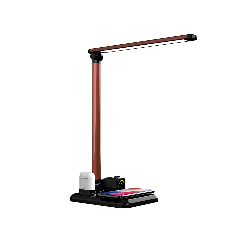 2019 New Arrival 10W Fast Wireless Charging Desk Led Lamp with Wireless Charger for Apple Watch Earphone фото