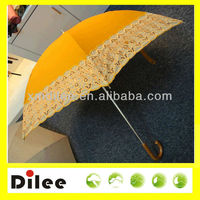 Beautiful cheap orange with lace colorful straight umbrella