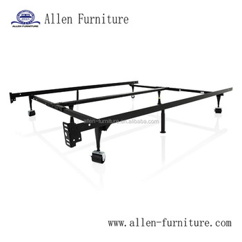 Heavy Duty 8-Leg Adjustable Metal Bed Frame with Rug Rollers - Universal Size (Cal King - Twin)