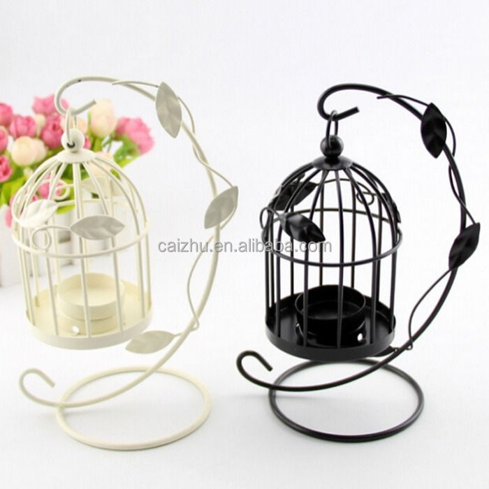 Vintage Metal Bird Cage Candle Holder Stand Lanter Wedding Table