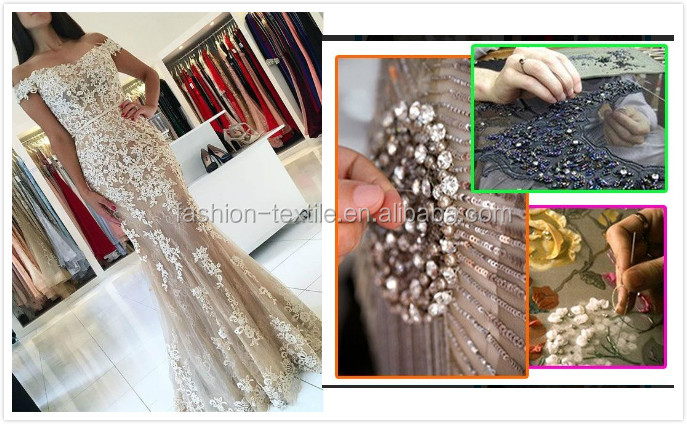 Hot Sale Beautiful stone french lace high quality wedding party textile CL61394-3