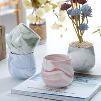 Chinese style marbling ceramic flower pot Japanese flower pots glazed pot