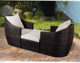 Oval shaped bed patio outdoor rattan daybed aluminium wicker lounge set