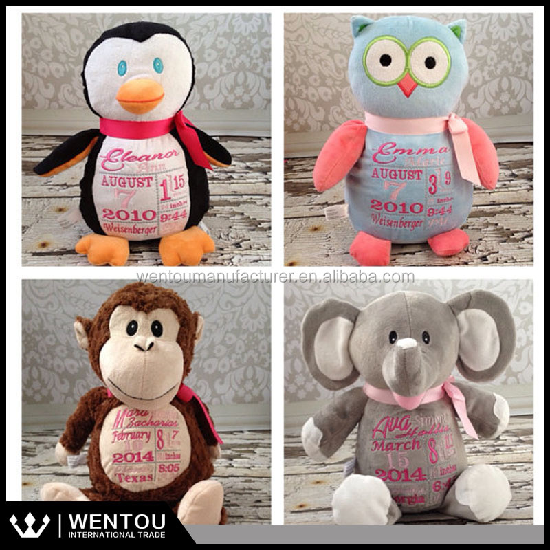Personalized Baby Arrival Gift Plush Stuffed Animal