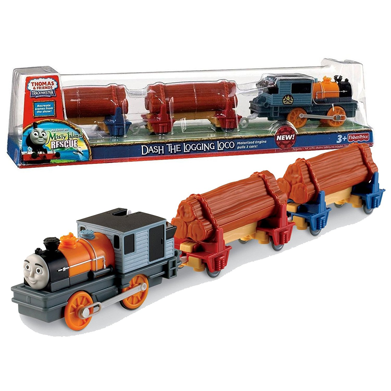 """Fisher Price Year 2010 Thomas and Friends As Seen On """"Misty Island Rescue"""" DVD Series Trackmaster Motorized Railway Battery Powered Tank Engine 3 Pack Train Set - DASH THE LOGGING LOCO with 2 Flatbed Train Cars Loaded with Logs"""