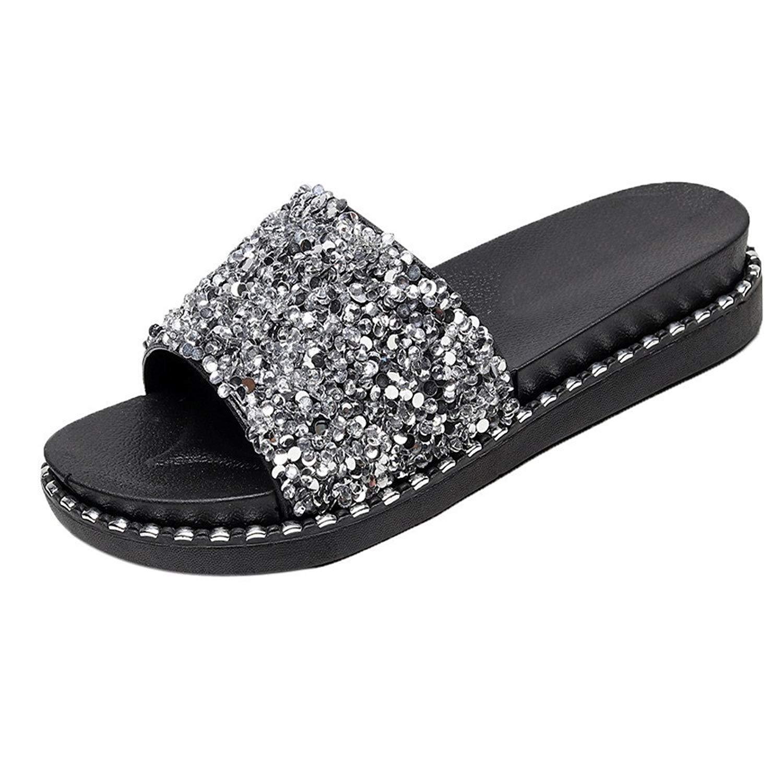 d10becf03dc83 Get Quotations · OVERMAL Shoes Women Slippers Sequined Platform Flip Flops  Sandals Glitter Slippers Sandals