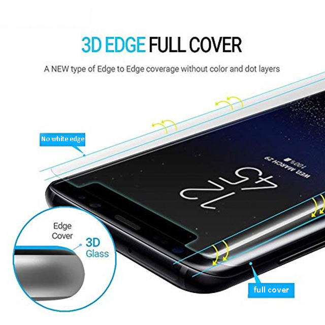 Hot sell bending edge uv liquid tempered glass screen protector For samsung s note 9 8