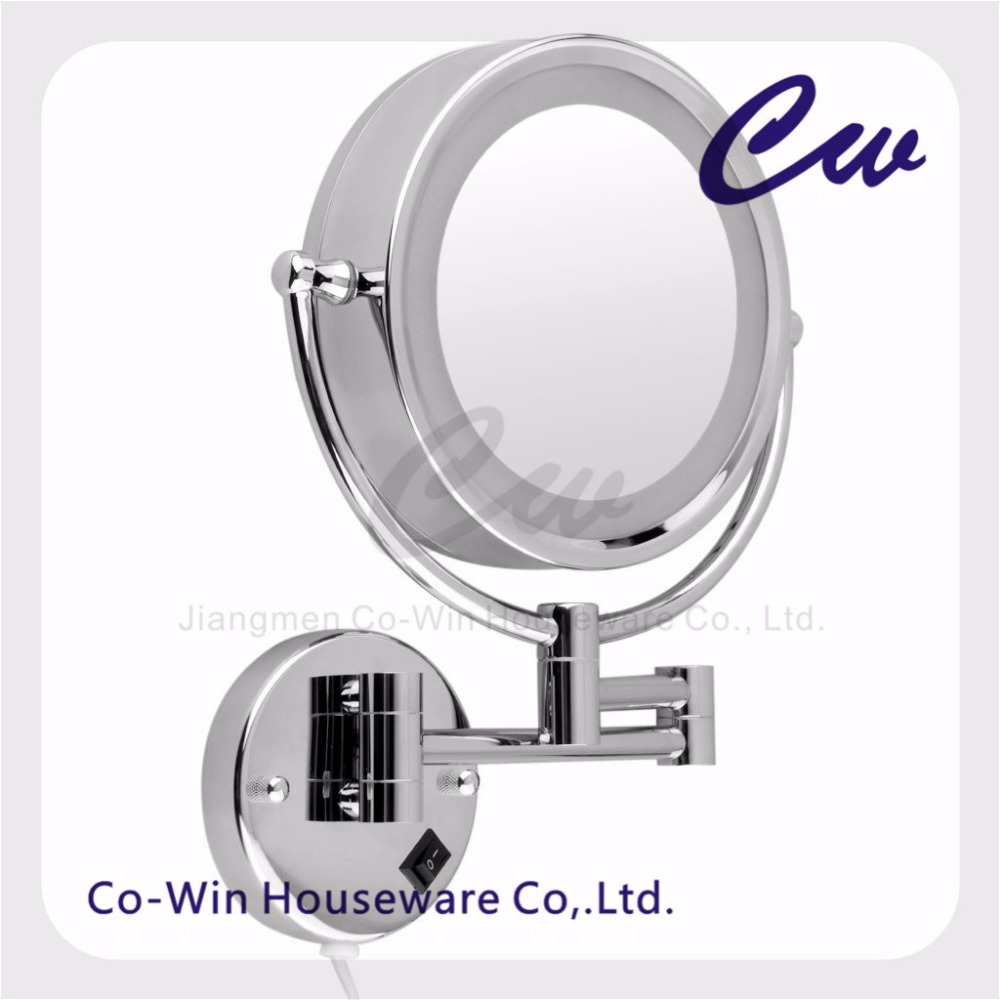 Iron Silver Double Side Wall Mount Movable Mirror Cosmetic LED Mirror Magnification Chrome Finishe Round Makeup LED Mirror