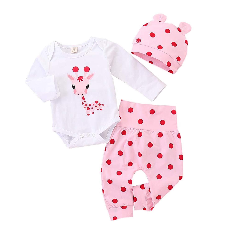 986f3b63318 Get Quotations · Baby Girl Santa Outfits Cute Deer Long Sleeve Romper  Bodysuits Polka Dots Pants+Hat 3PCS
