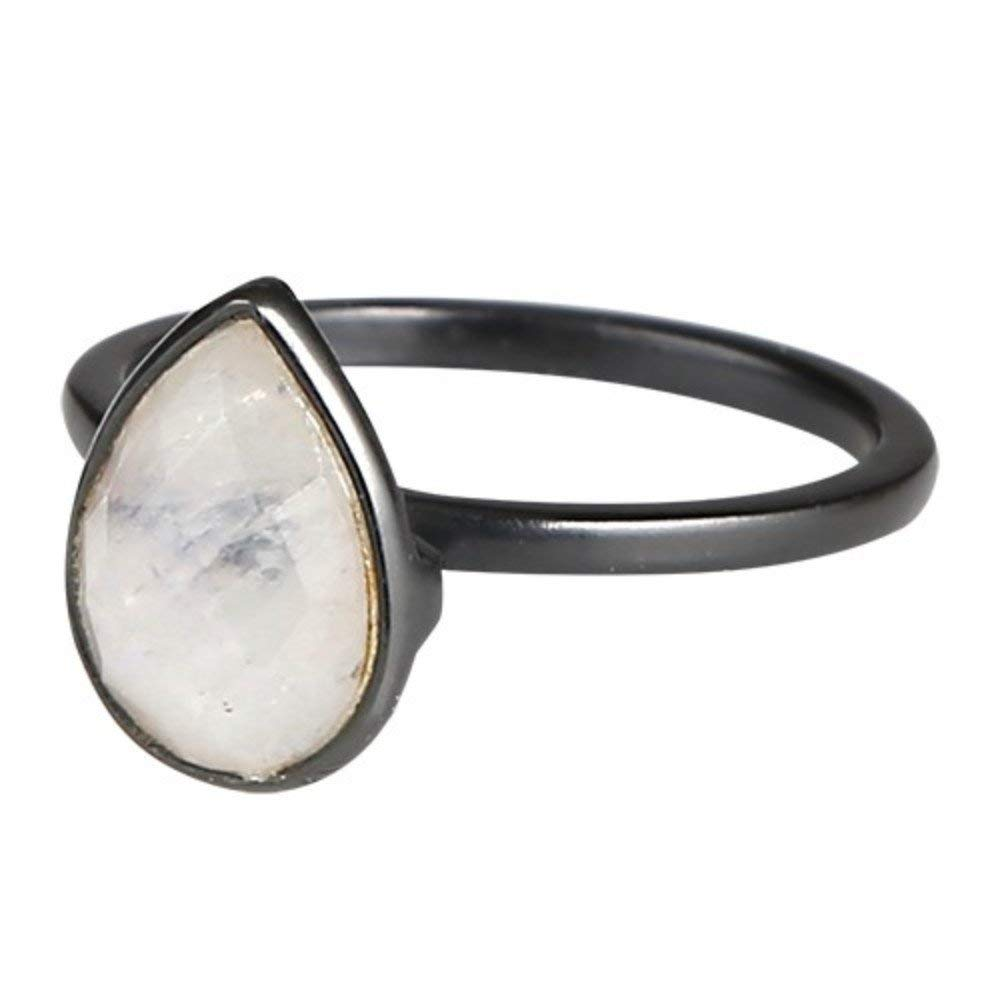 Nathis Trendy ring with a drop-shaped, beautiful rainbow moonstone gemstone