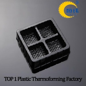 Black compartment food plastic tray for cake
