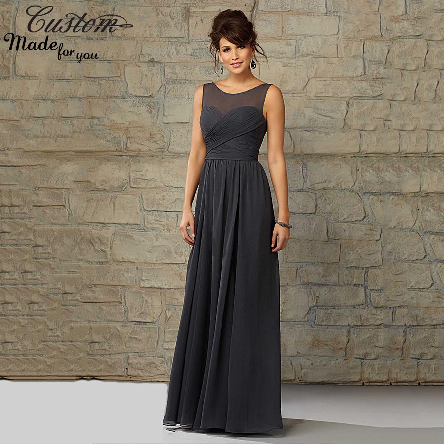 Cheap Elegant Wedding Dresses: Elegant Chiffon Long Wedding Party Gowns Cheap Sheer Neck