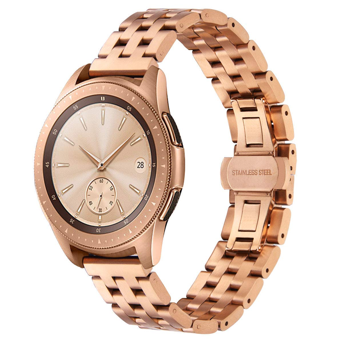 VIGOSS Compatible Galaxy Watch 42mm Band Rose Gold,Stainless Steel Solid Metal Watch Band for Samsung Galaxy Watch 42mm Smartwatch SM-R810(42mm,Rose Gold)