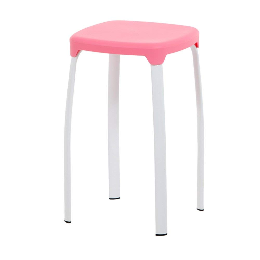 Stool Plastic Office Household Square Color Stackable Three for Sale (Color : Pink)
