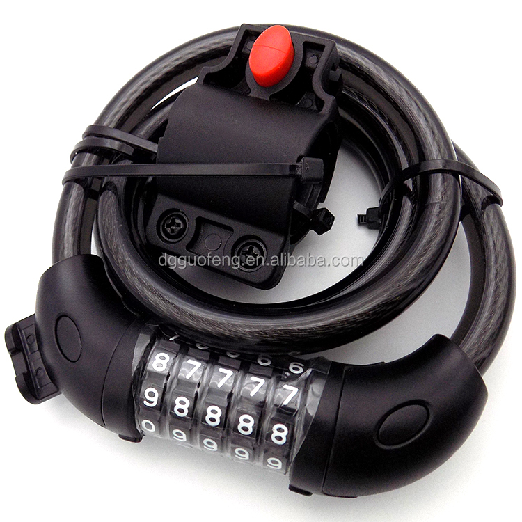 4 digit cable combination lock bicycle anti-theft retractable cable lock