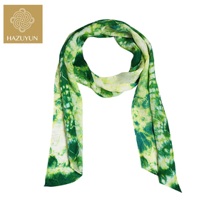 Custom 100% Silk Scarf Green Ice Crack Scarf Square Satin Printed Manufacturers Make to Order Shawl