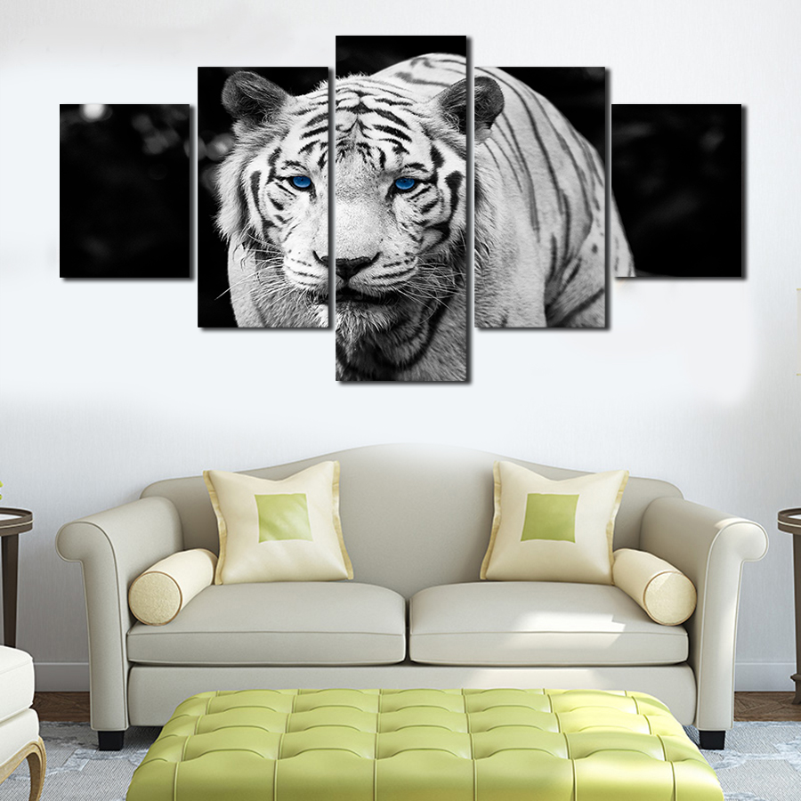 Unframed 5 Pcs White Tiger Animal Art Pictures Large HD