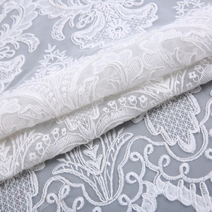 High quality fancy all over bridal mesh lace french fabric embroidery