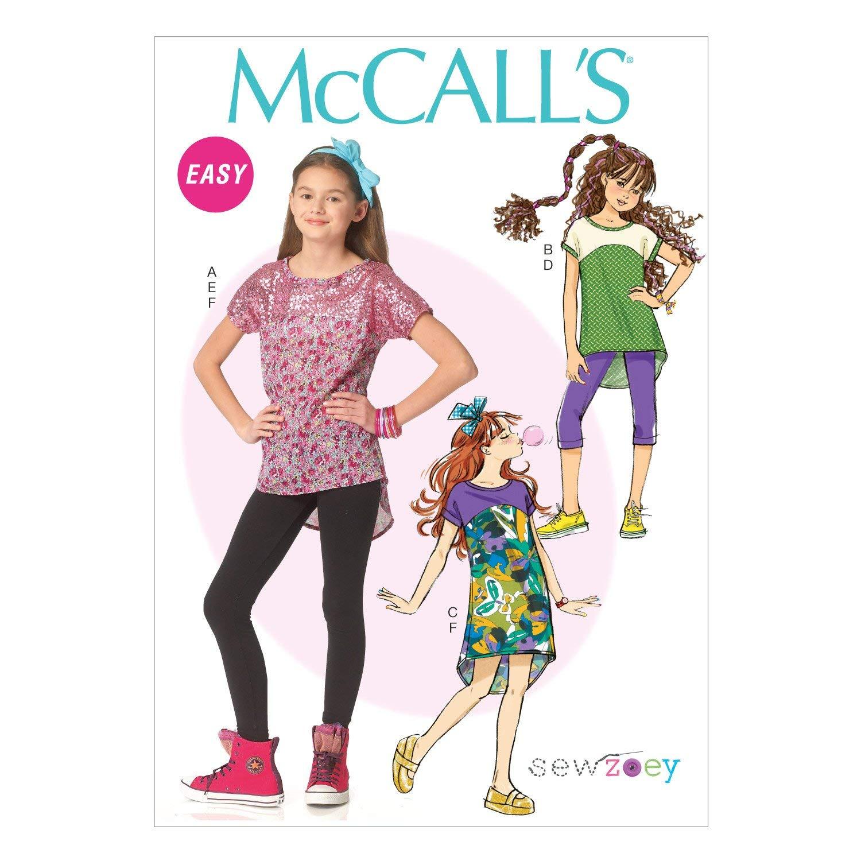 McCall's Patterns M7114 Children's/Girls' Plus Tops/Dress/Leggings & Head Band, Size PLS (10 1/2-12 1/2-14 1/2-16 1/2)