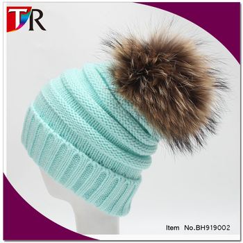8f5564504f1 Ali-express Crazy Hot Mint color winter slouch beanie   raccoon fur pom  knitted beanie