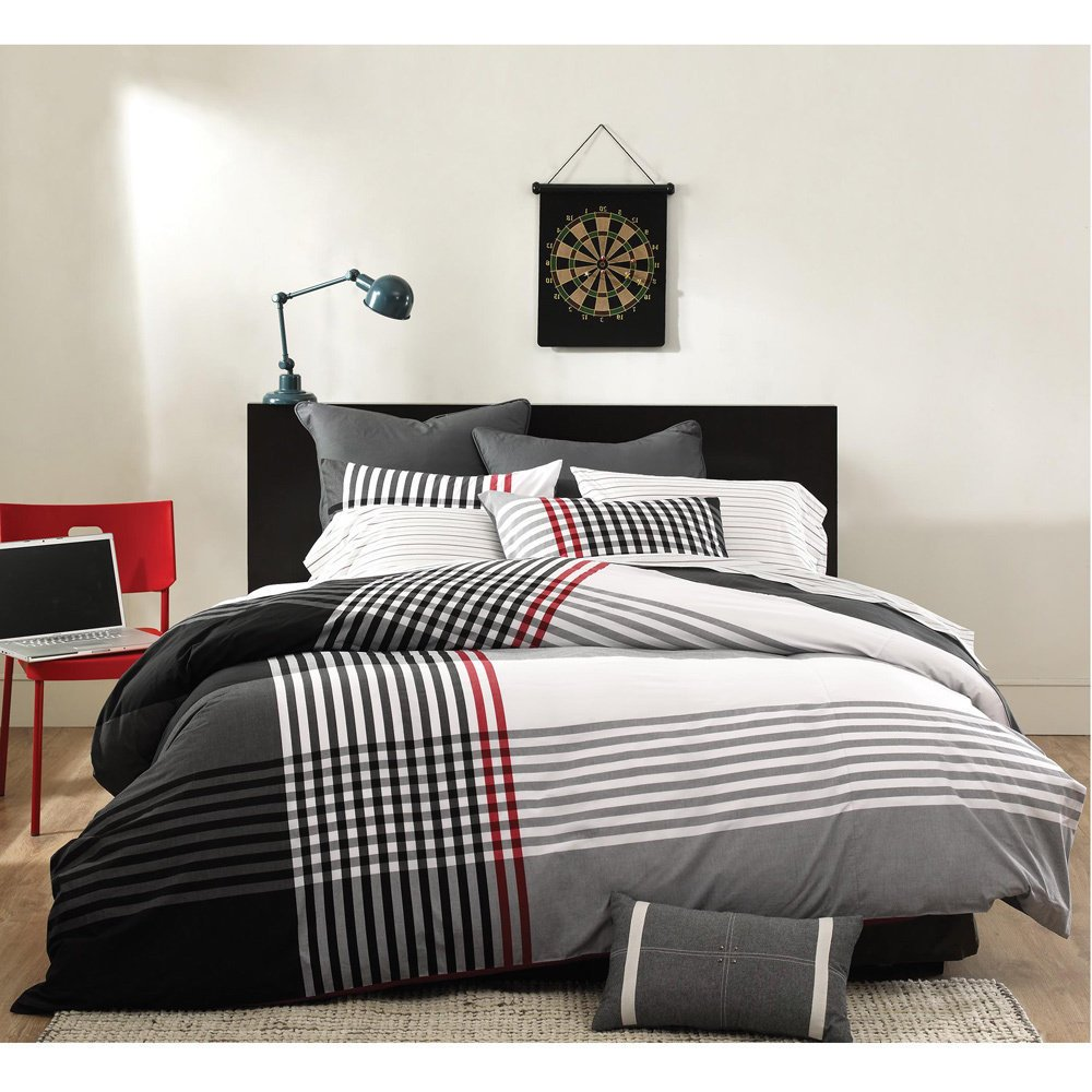 3 Piece White Black Red Grey Stripes Plaid Comforter Full Queen Set, Stylish Modern Striped Bedding Woven Nautical Checked Pattern Madras CrissCross Design, Cotton